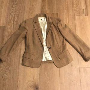 J crew wool blazer with braided leather button